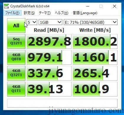 NVMeタイプのM.2SSD 速度ベンチマーク